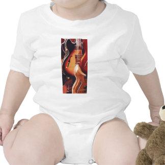 Arte de la acuarela de la guitarra de las traje de bebé