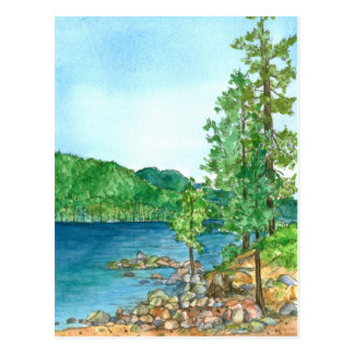 Arte de la acuarela de la postal de Habor el lago