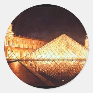 "Arte de la acuarela de ""Les Lumieres du Louvre"" Pegatina Redonda"