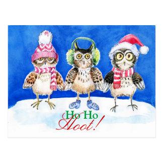 Arte de la acuarela de los búhos del navidad postales