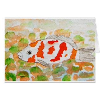 Arte de la acuarela de los pescados de Koi Tarjetón