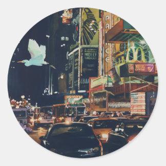 """""""Arte de la acuarela de Nueva York del tráfico de Pegatina Redonda"""