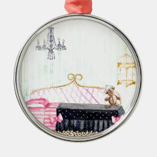 Arte de la acuarela del dormitorio del ` s de E. Adorno Navideño Redondo De Metal
