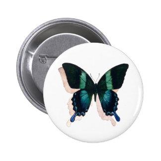 """Arte de la acuarela del insecto de la """"mariposa az pin redondo 5 cm"""