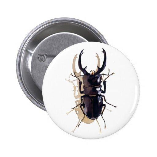 """""""Arte de la acuarela del insecto del escarabajo de Pin Redondo De 2 Pulgadas"""