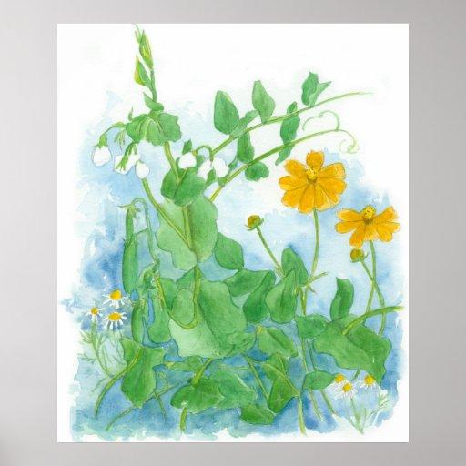 Arte de la acuarela del jardín del poster de los