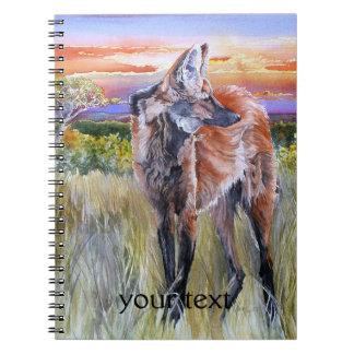 Arte de la acuarela del lobo crinado libro de apuntes con espiral