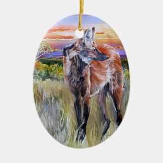 Arte de la acuarela del lobo crinado adorno ovalado de cerámica