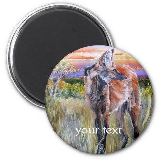 Arte de la acuarela del lobo crinado imán redondo 5 cm
