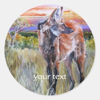 Arte de la acuarela del lobo crinado pegatina redonda