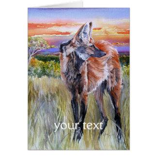 Arte de la acuarela del lobo crinado tarjeta de felicitación