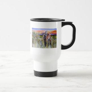 Arte de la acuarela del lobo crinado taza de viaje de acero inoxidable