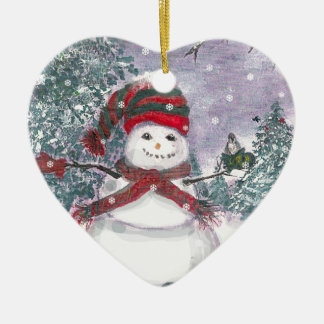 Arte de la acuarela del muñeco de nieve adorno