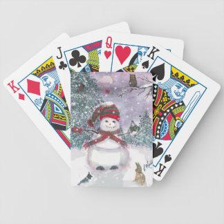Arte de la acuarela del muñeco de nieve cartas de juego