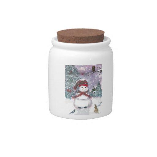 Arte de la acuarela del muñeco de nieve plato para caramelo