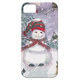 Arte de la acuarela del muñeco de nieve iPhone 5 Case-Mate cobertura
