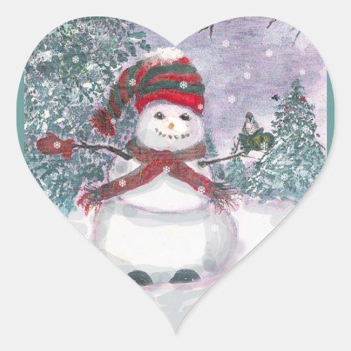 Arte de la acuarela del muñeco de nieve colcomanias corazon personalizadas