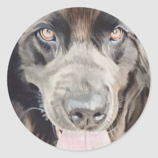 "Arte de la acuarela del perro de ""Terranova"" Pegatina Redonda"