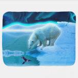 Arte de la amistad del pingüino del oso polar y de manta de bebé