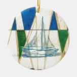Arte de la apariencia vintage de la acuarela de la adorno navideño redondo de cerámica