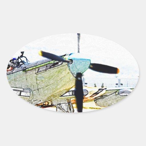 Arte de la aviación de la representación de la pegatina ovalada