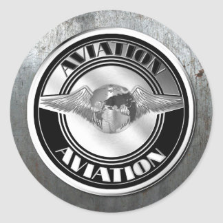 Arte de la aviación del vintage etiqueta redonda