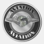 Arte de la aviación del vintage pegatinas redondas
