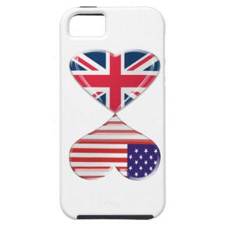 Arte de la bandera de los corazones de Reino Unido Funda Para iPhone 5 Tough