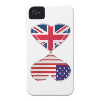 Arte de la bandera de los corazones de Reino Unido iPhone 4 Case-Mate Protectores