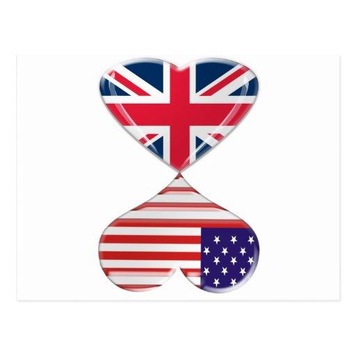 Arte de la bandera de los corazones de Reino Unido Postal