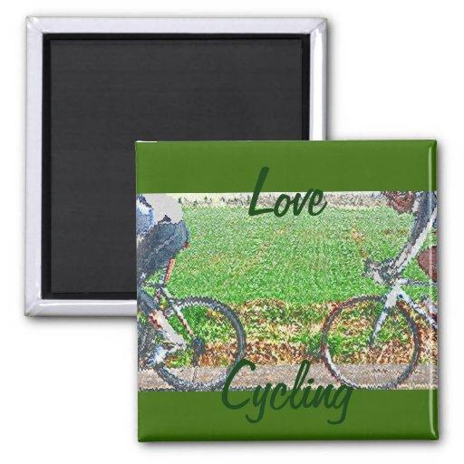 Arte de la bicicleta, 2 ciclistas y fondo verde imán cuadrado