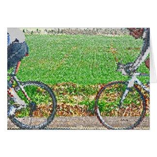 Arte de la bicicleta, 2 ciclistas y fondo verde felicitaciones