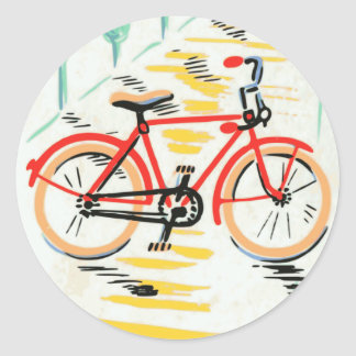 Arte de la bicicleta del vintage pegatina redonda