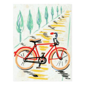 Arte de la bicicleta del vintage postal