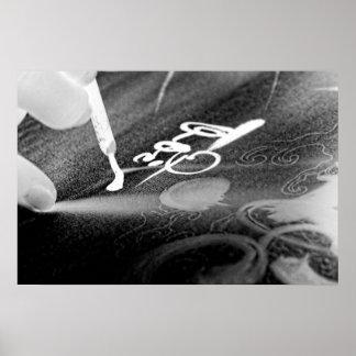 Arte de la caligrafía - negativas de la foto póster