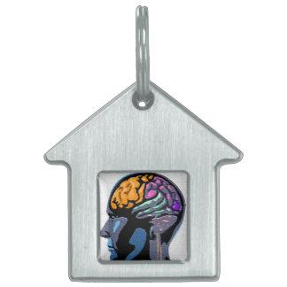 Arte de la calle de la mente humana placa de nombre de mascota