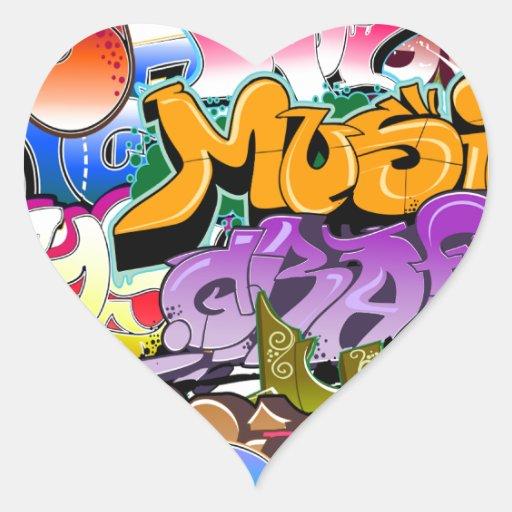 Arte de la calle de la pintada pegatina corazon personalizadas
