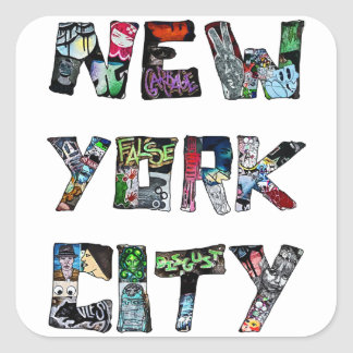 Arte de la calle de New York City Pegatinas Cuadradas