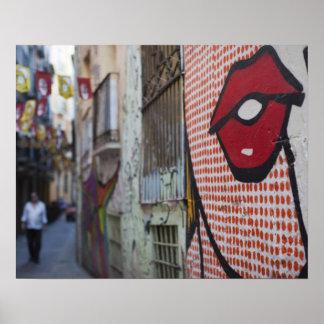 Arte de la calle en la calle de Calle de la Libert Póster