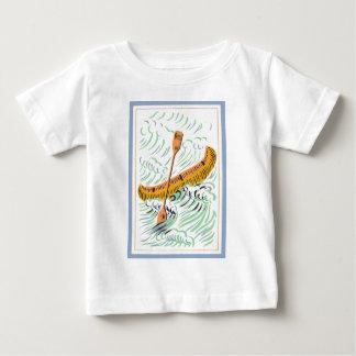Arte de la canoa del vintage playera de bebé