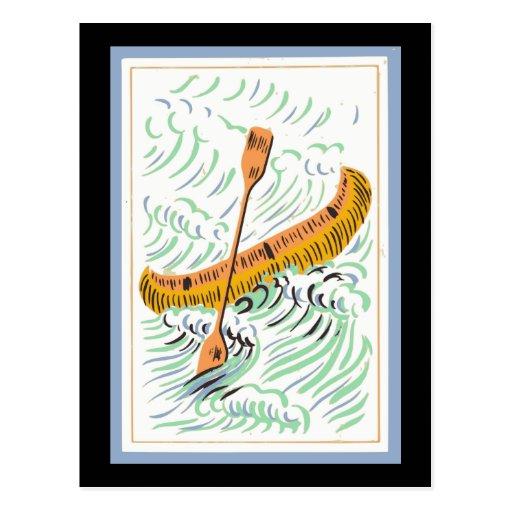 Arte de la canoa del vintage postales