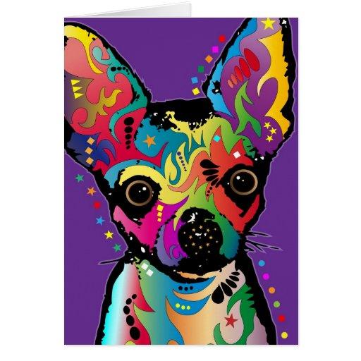 Arte de la chihuahua tarjeta de felicitación