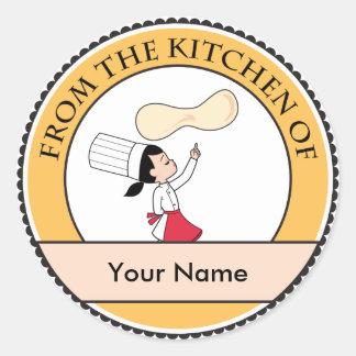 Arte de la cocina de la etiqueta del pegatina de