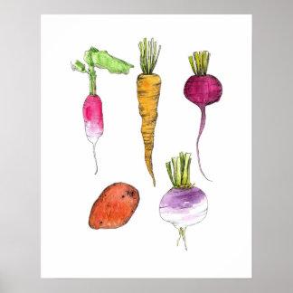Arte de la cocina de la tinta de la acuarela de póster