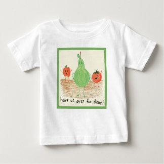 Arte de la comida del niño, verde t shirts