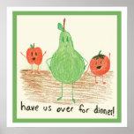 Arte de la comida del niño, verde posters