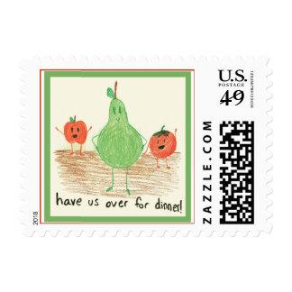 Arte de la comida del niño, verde sellos