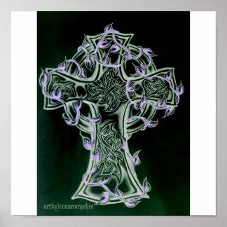 arte de la cruz céltica/de la vid póster