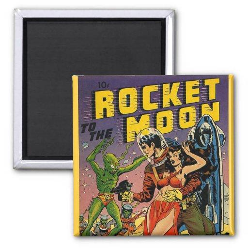 Arte de la cubierta de cómic del vintage de Sci Fi Imán Cuadrado