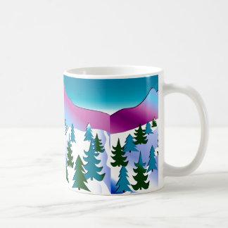 Arte de la cuesta del esquí en la taza de café